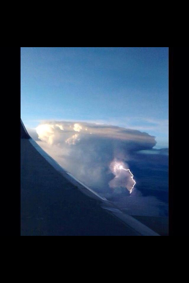 July of 2013: I caught this on a flight home from San Francisco, California. Glad I got the window seat..nice cumulonimbus with lightning.