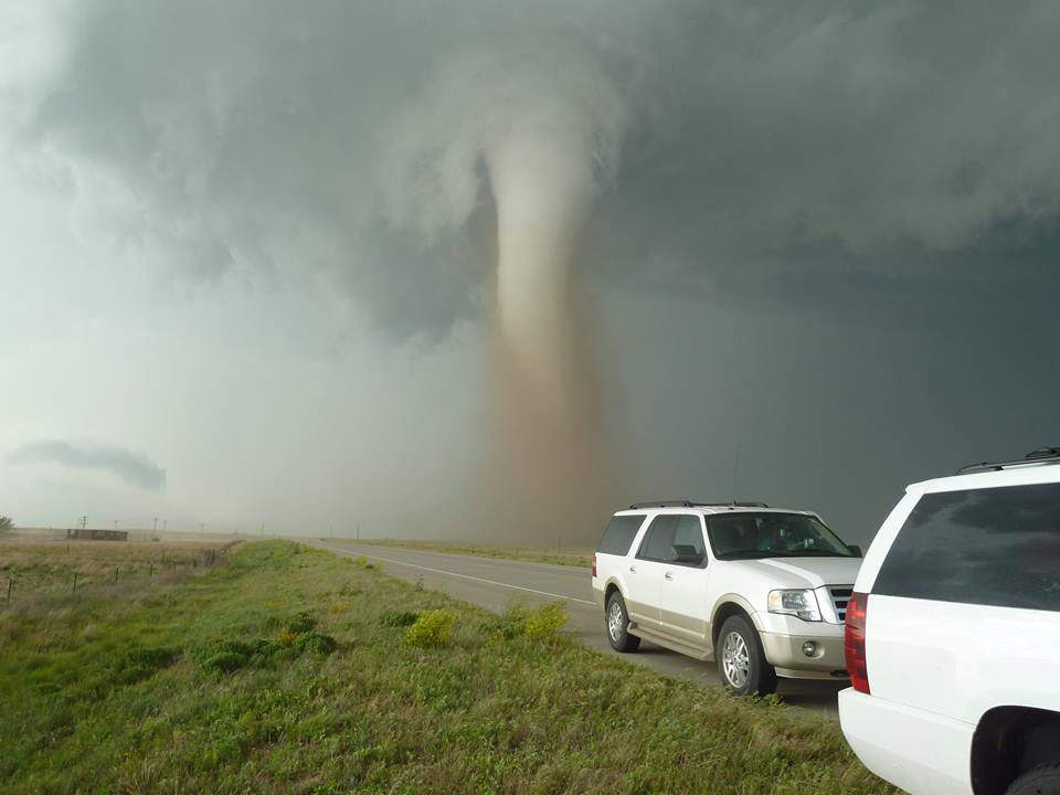 Campo Colorado Tornado May 31st 2010 I love this one. You can tell how close we were but the vehicles also add another reference point of being able to tell even more how close we were to this beauty.
