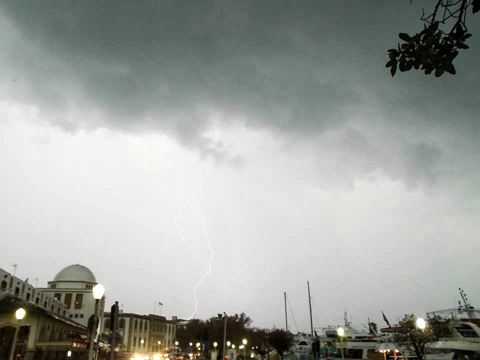 Sometimes they strike in town!!  .close range lightning in Rhodes Greece 2013 storms seazon!!!