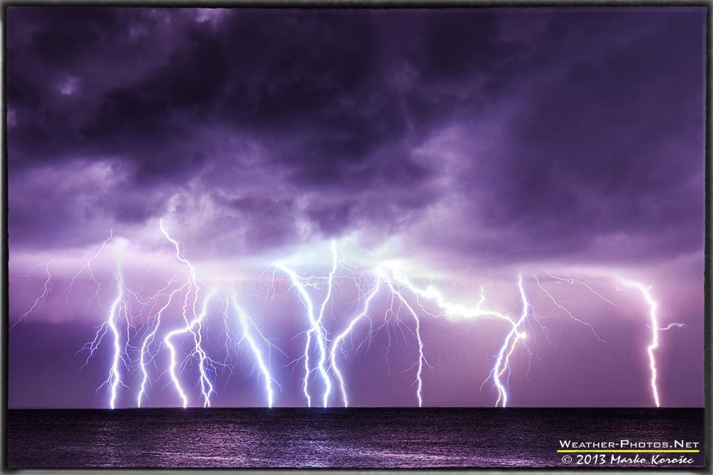 An intense lightning barrage in front of Pula, Croatia on early morning of Nov 24th, 2013.