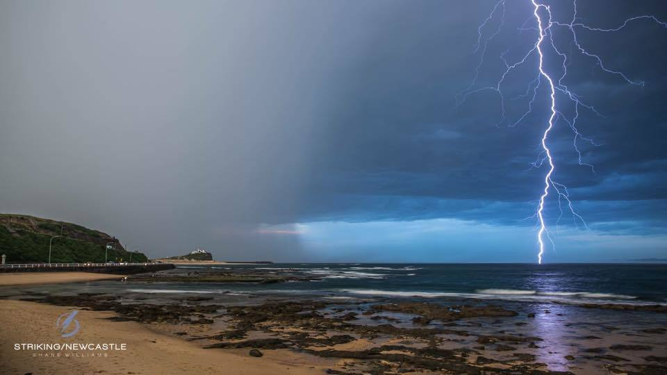 This was taken on the 25/11/14 looking towards Nobbys lighthouse in Newcastle, Australia. This was an amazing storm taking pics in the day is very difficult.