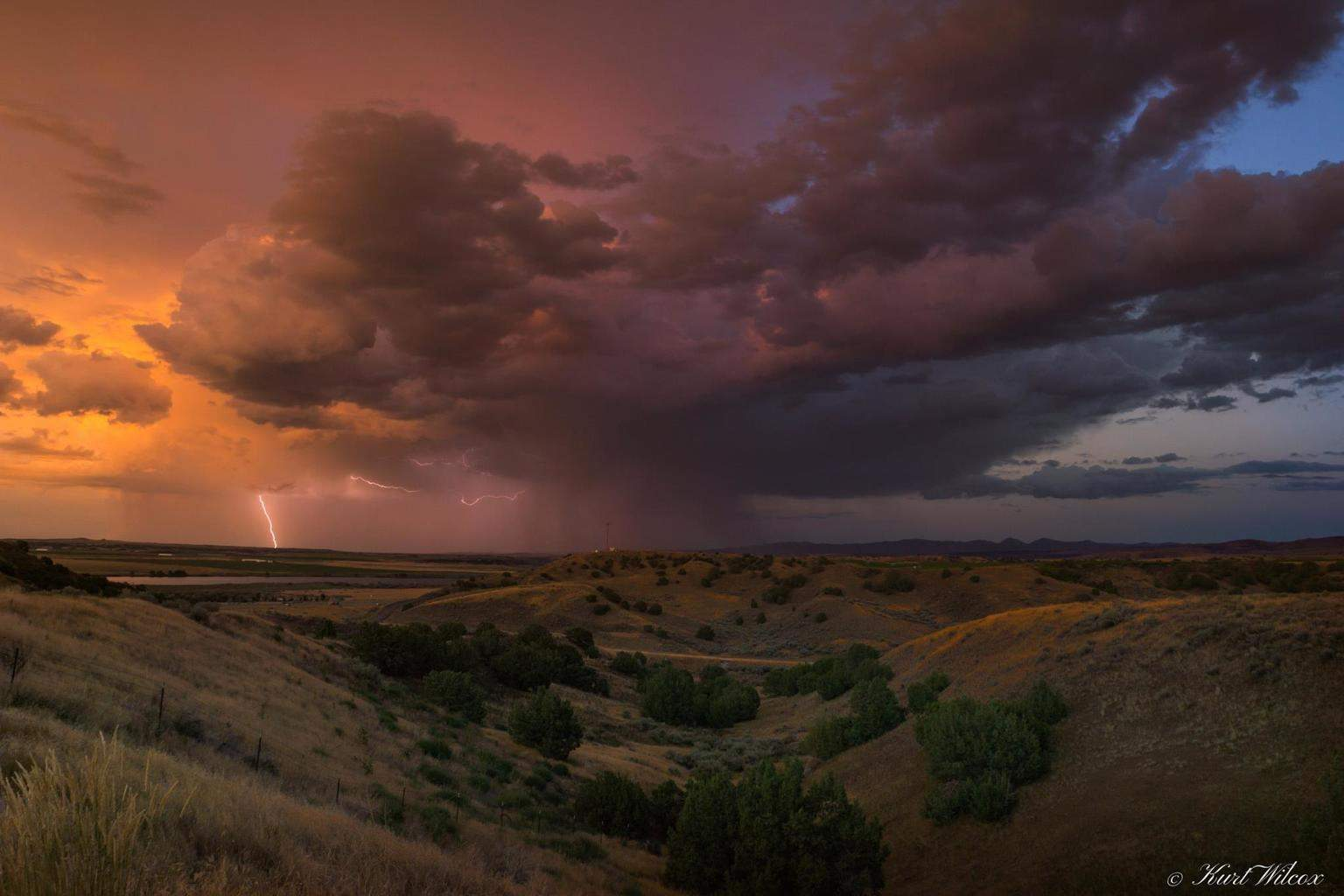 8/14/2014 Raft River Idaho, This storm produced a small tornado as it moved across the desert towards atomic city.