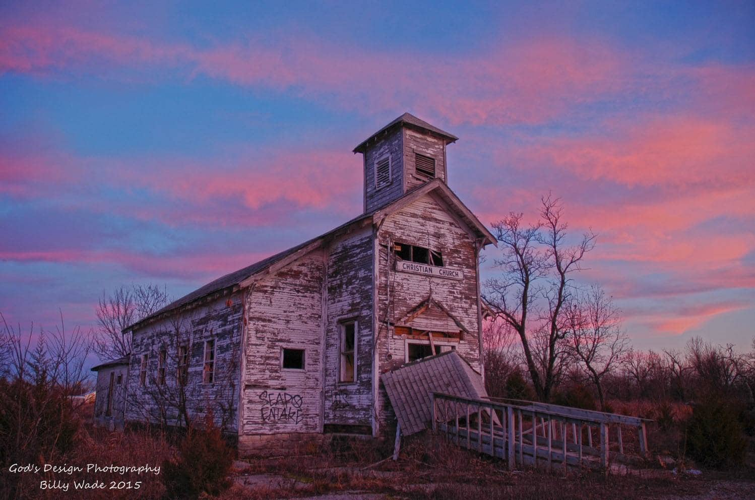 Another Sunset of the Picher Oklahoma Christian Church, Gotta Say it Sure is a Beautiful Abandoned Church Located in Picher Oklahoma