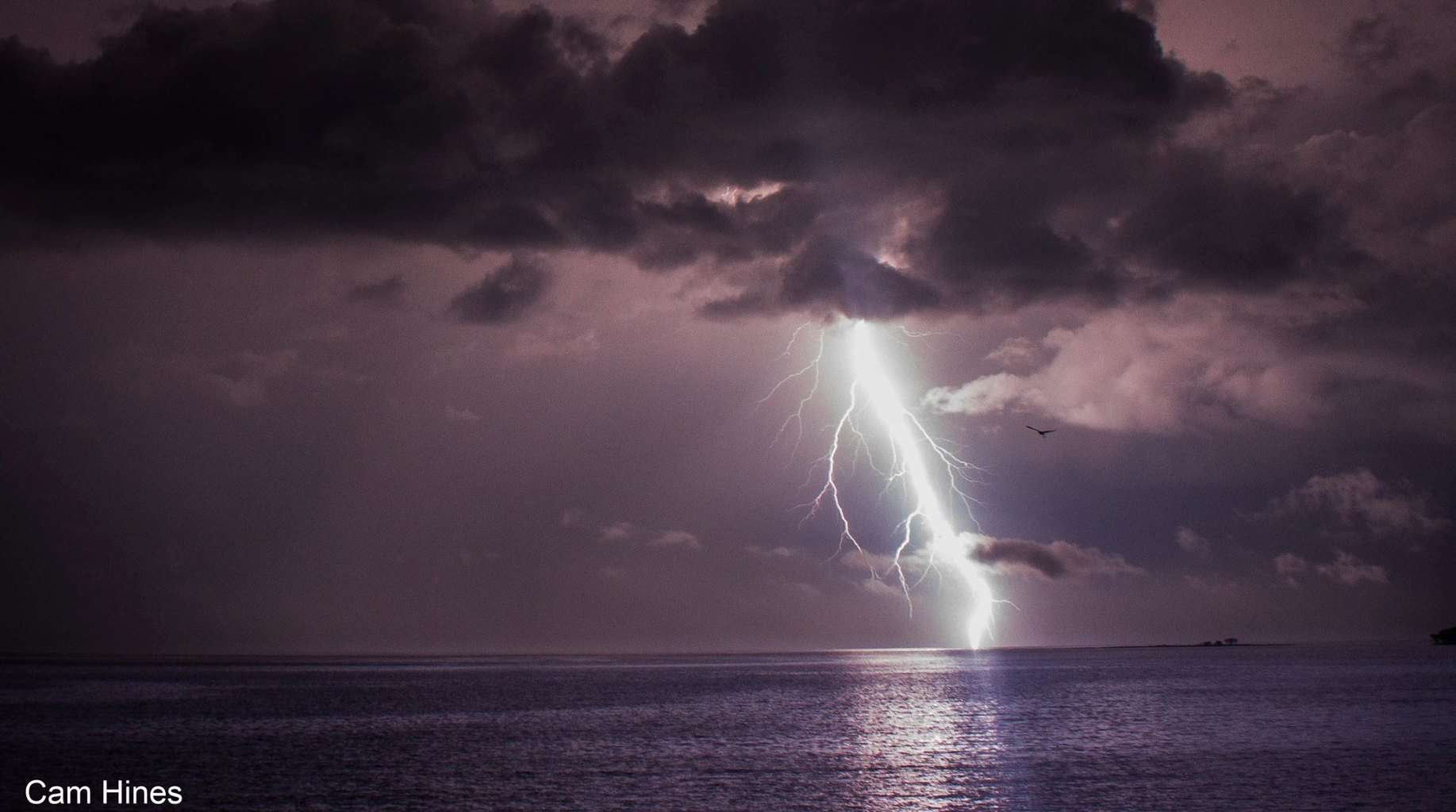 CG lightning hitting the water just offshore from the beach in Cape York, Australia on December 30 last year.