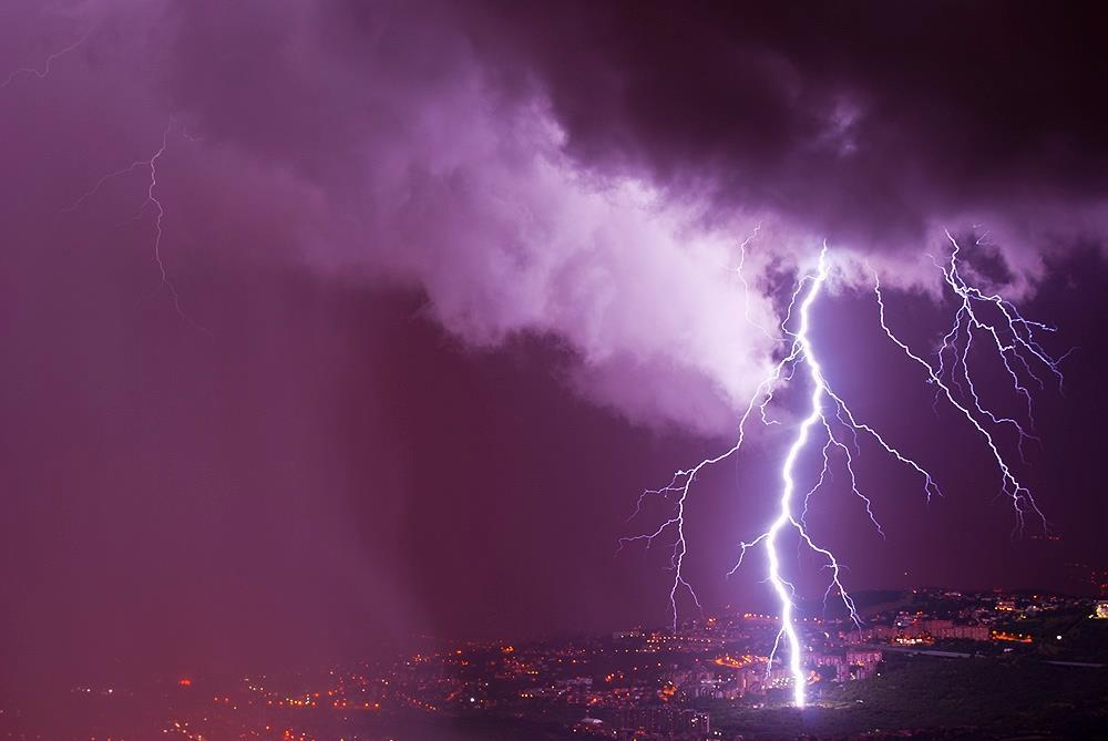 CG lightning strike hit the suburbs of Trieste, Italy. Photo was taken in July 2014.