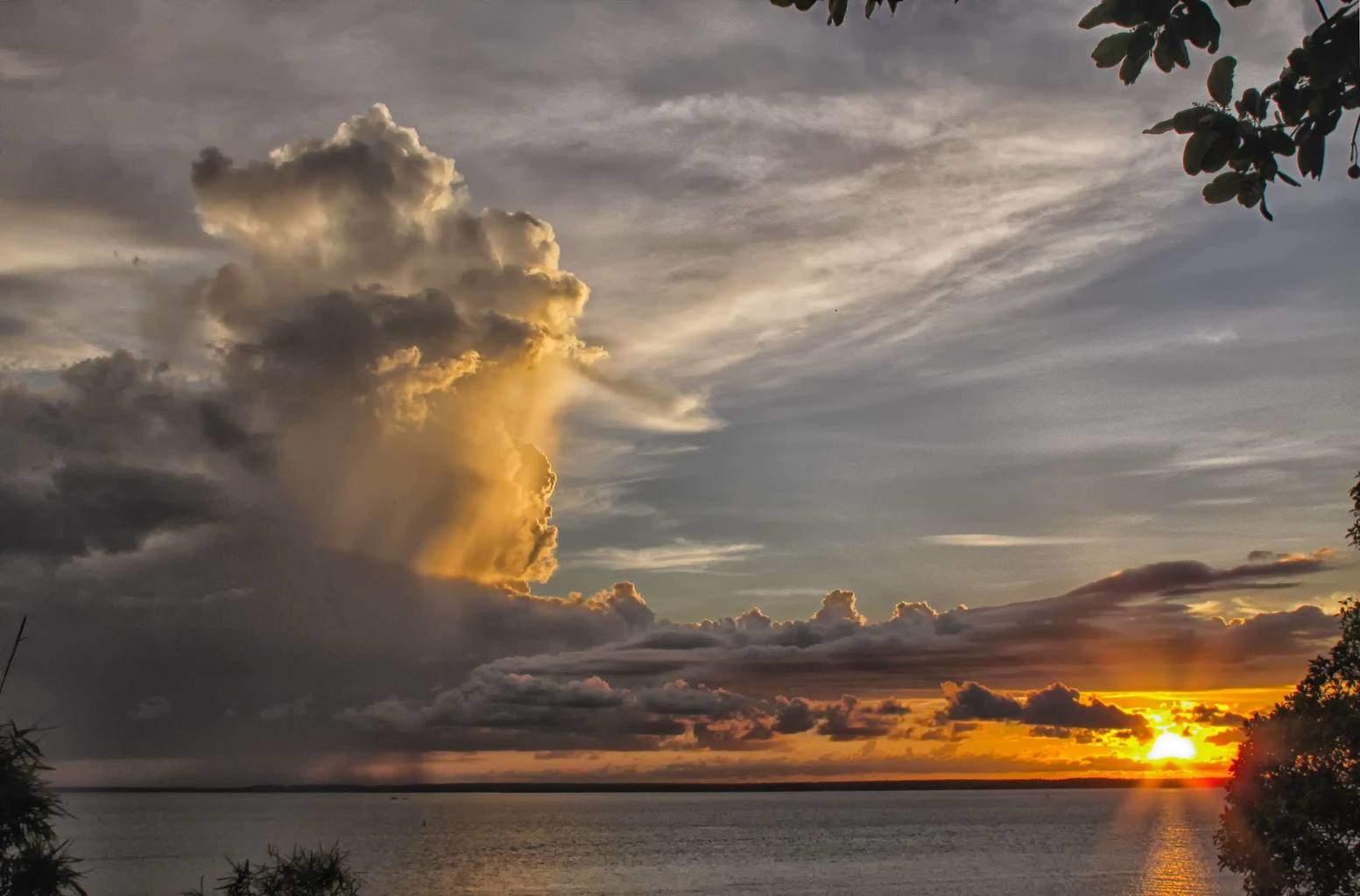 Decaying storm across Darwin Harbour. Northern Territory, Australia