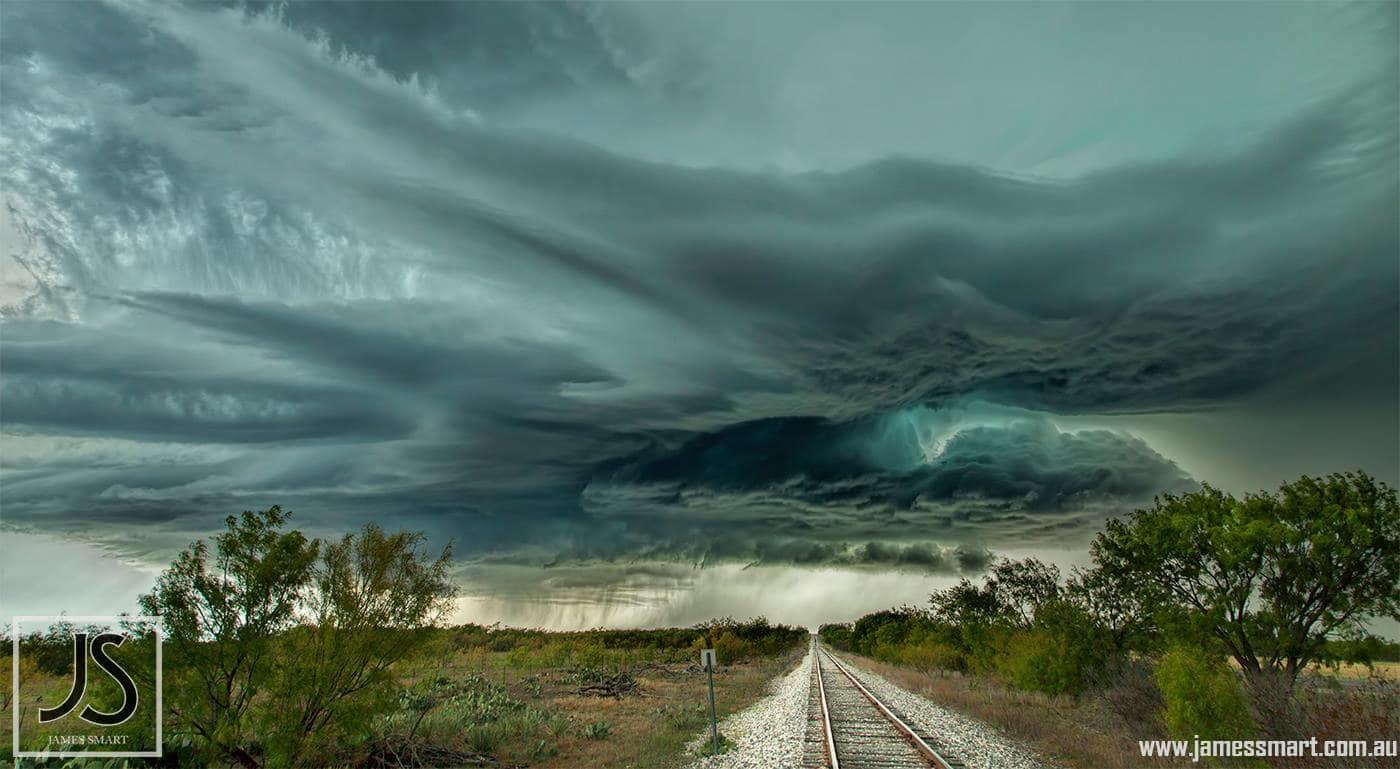Lonely train track heading into the storm. Texas, USA (2013)