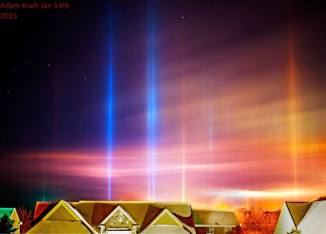 A light pillars display of epic proportions was seen last night across NW Ohio, Northern Indiana and southern Michigan. This is in my top 3 favorite displays of all time. At a bone chilling -7 tons of diamond dust plate shaped ice crystals glinted to the ground creating an incredible seen. This is my favorite pic because of the heavy diamond dust striations aloft as well as the stars back dropping the light pillars. Yes, colors are totally legit. I actually had to back down the saturation some. Pic taken in Spring Arbor MI.