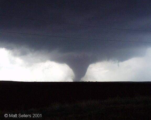 Big ol' beast... large tornado in an open field, just like we like to see them as chasers. What a day. Oct 9, 2001 near Foss Lake, OK.