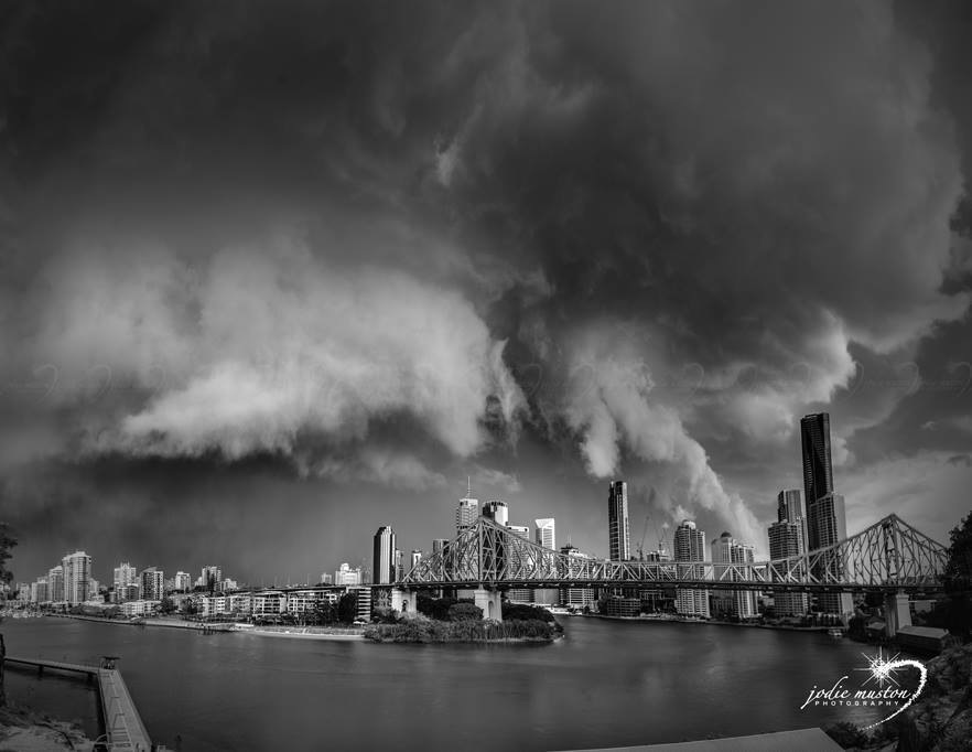 I don't normally do BW - but here we go! Brisbane QLD Australia 27th Nov 2014. This was the last shot I took of the storm that just smashed the city. There was some structure prior but this had just started to blow out, which I have recently learned, is the stage when our Aussie storms can be at their most volatile.... and that she was.