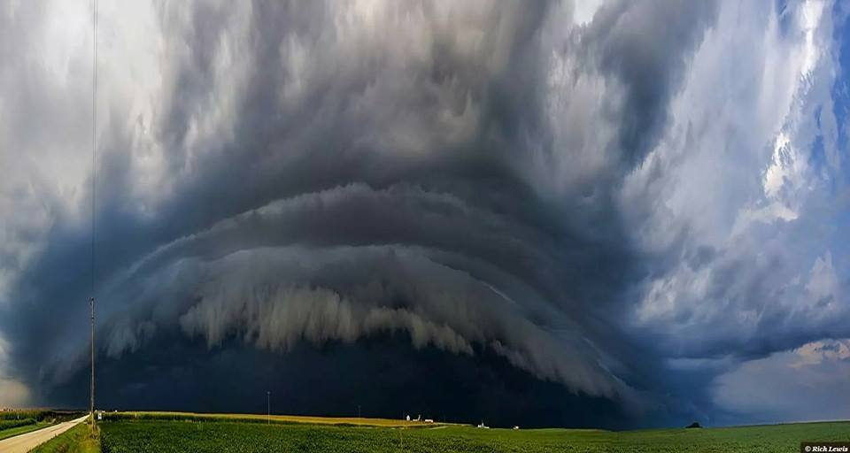 One of three panoramics I took on August 25th, 2014 during a severe warned gust front with damaging 60 mph winds. Taken near Strawn Illinois