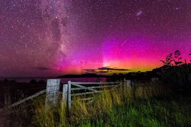 Southern lights (Aurora australis) in Tasmania, Australia.