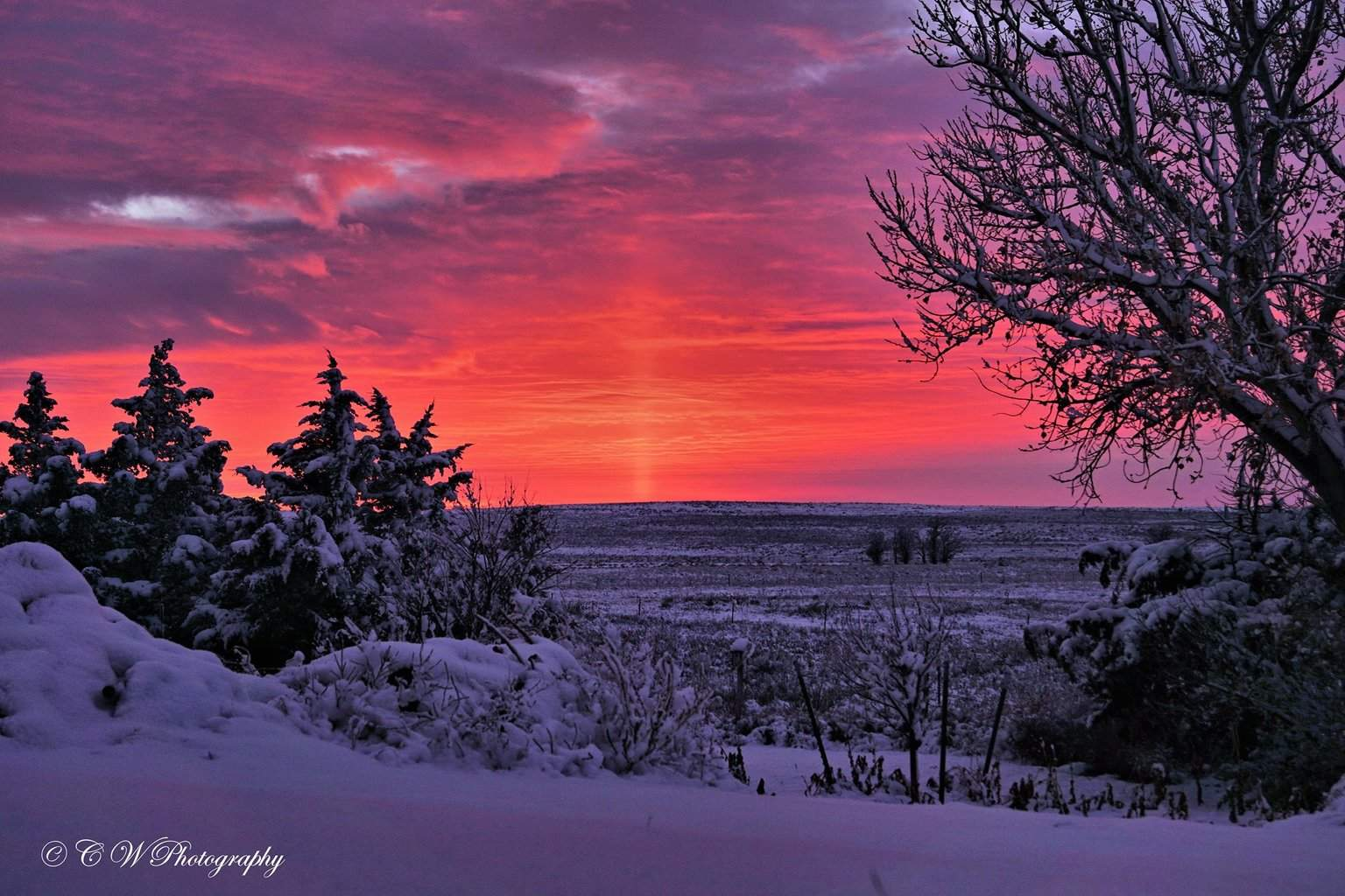 Jan. 3rd, 2015 sunset after a snow storm in the Oklahoma Panhandle.