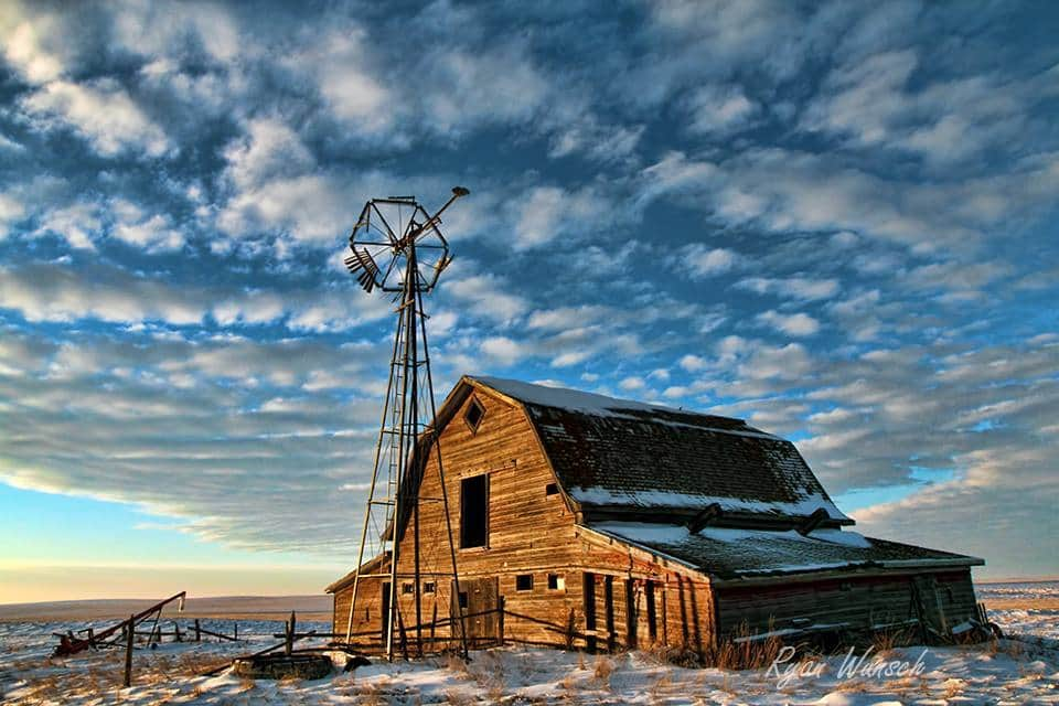 Altocumulus just before sunset last winter near Leader Saskatchewan, at an old homestead on my grandmothers side of the family.