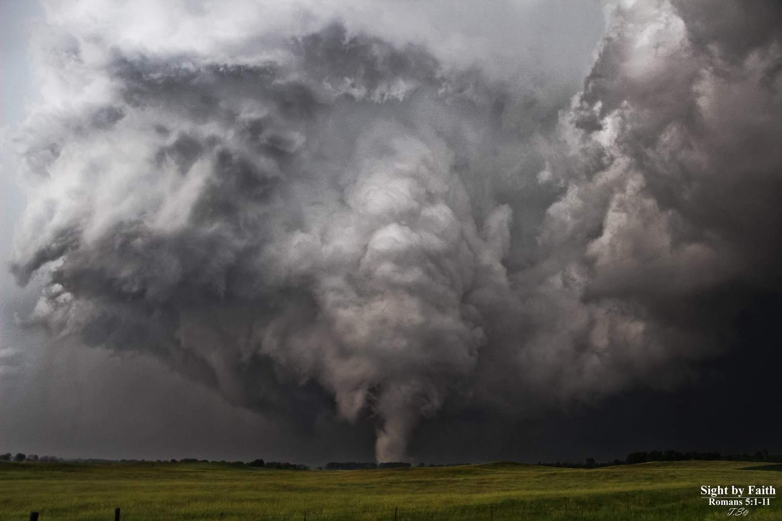 Another view of the June 18th, Alpena, SD EF4 tornado as it tore through the country side. This was one of my favorite chases from last year! The meso was totally exposed so it was a really unquiet look into the tornado genesis. Also continue to pray for the families whose homes were damaged by this tornado in Wessington Springs, SD.