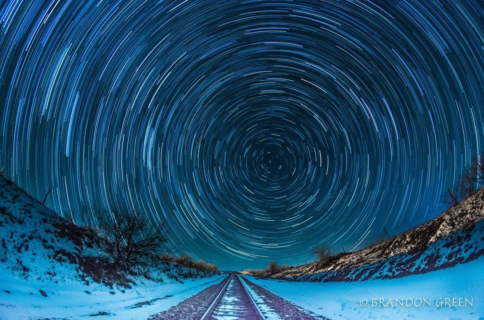 01-23-15 Star trails in Amarillo, TX a couple of days after heavy snow.