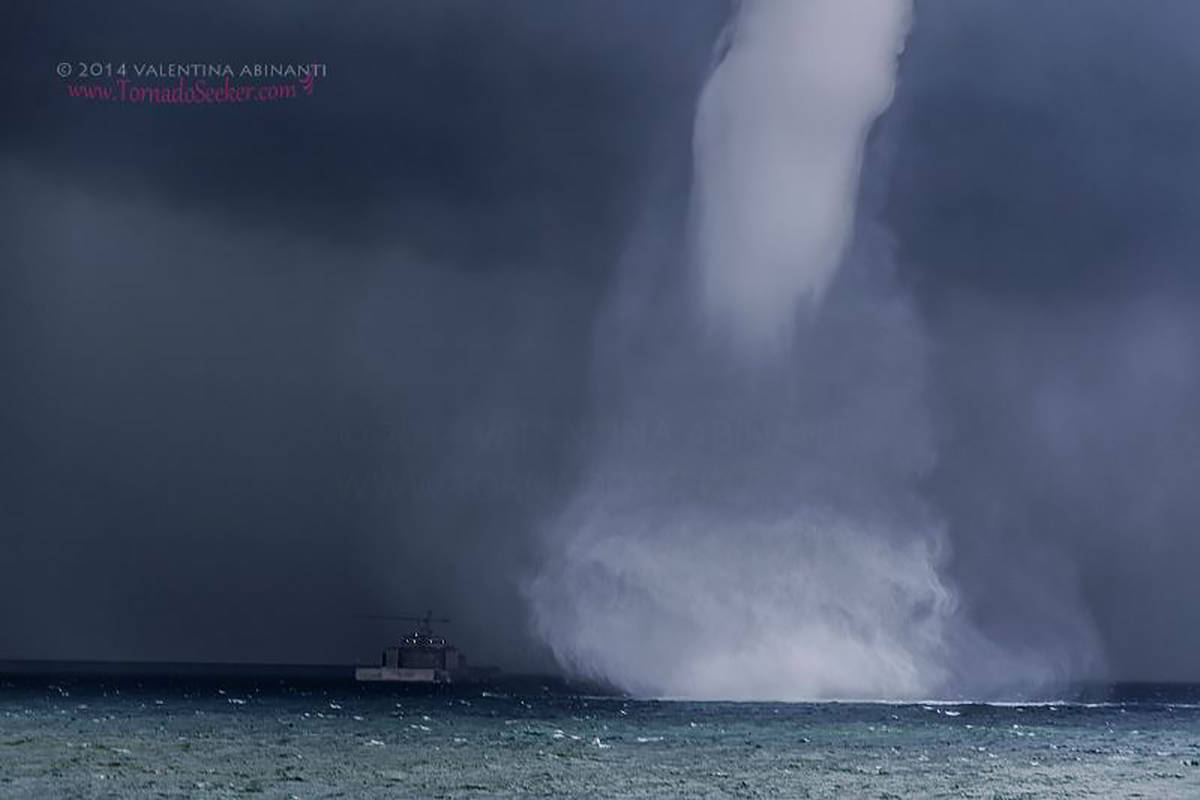 """Waterspout and """"Costa Concordia"""". Vesima, Genova, Italy. August 23rd 2014."""