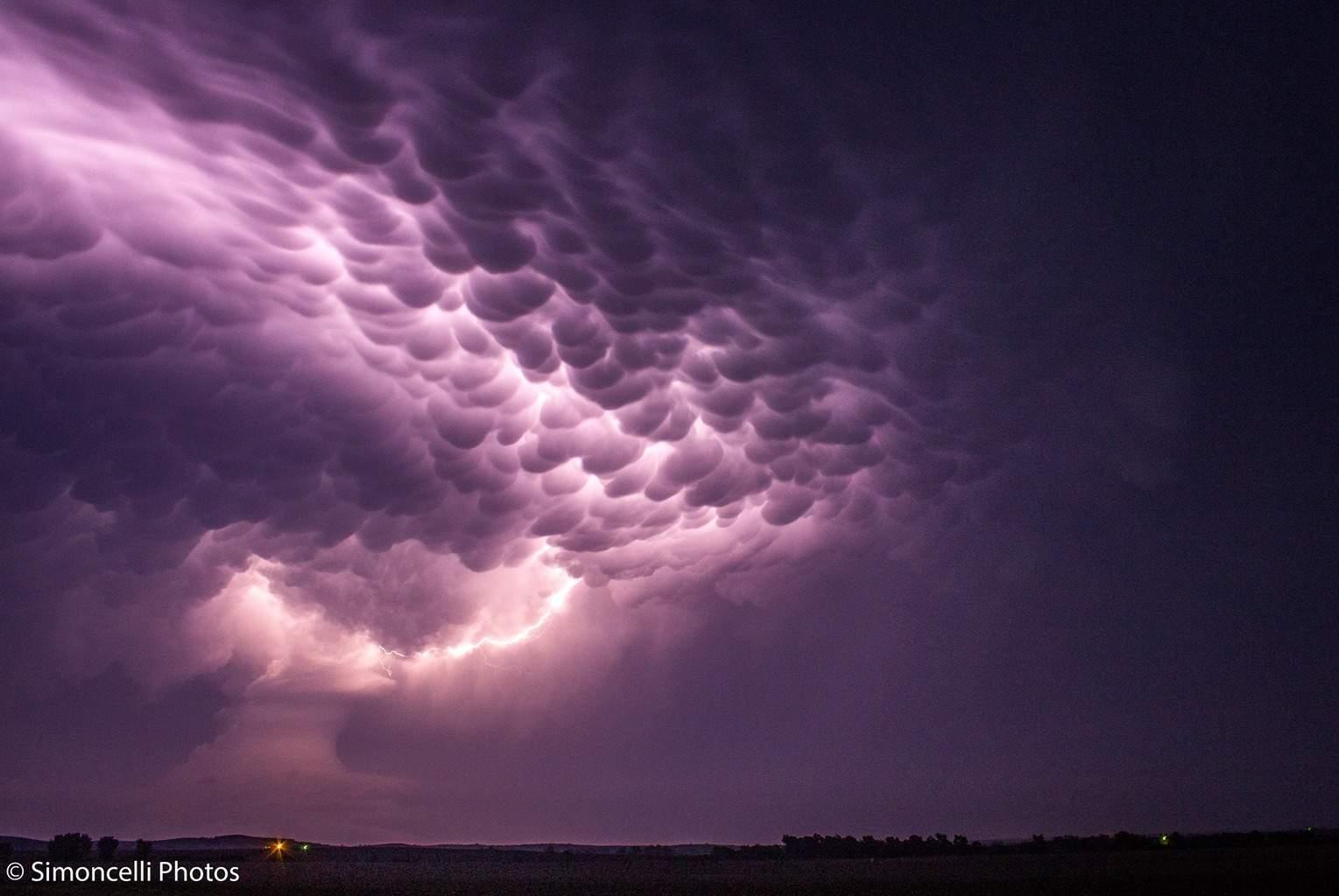 More Nebraska Skies. Beautiful mammatus lit by lightning.