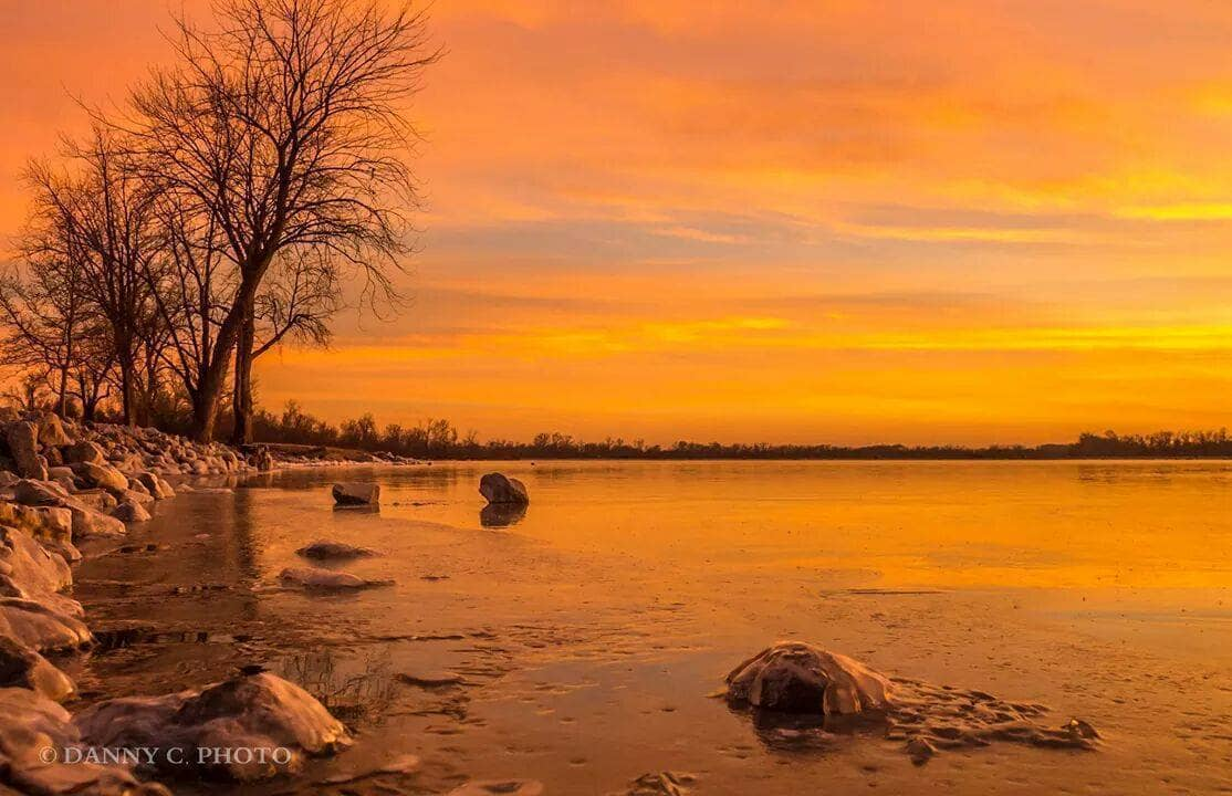 Sunset over a frozen lake in Illinois on 1-6-15