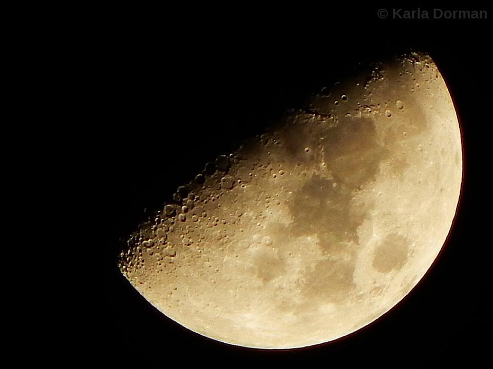Today's post: shootin' the moon, Burleson, TX, 1-27-15. (Image © Karla Dorman, copyright and watermark added.)