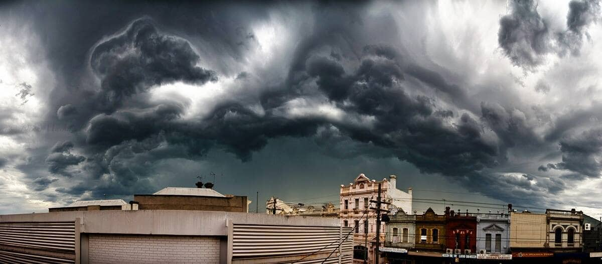 """""""Turbulence Over Brunswick"""" Taken yesterday on the 23rd February in Brunswick a suburb north Of Melbourne Victoria. Multiple severe warned storms out of this outbreak. There was even a Tornado warning issued in the North of the state"""