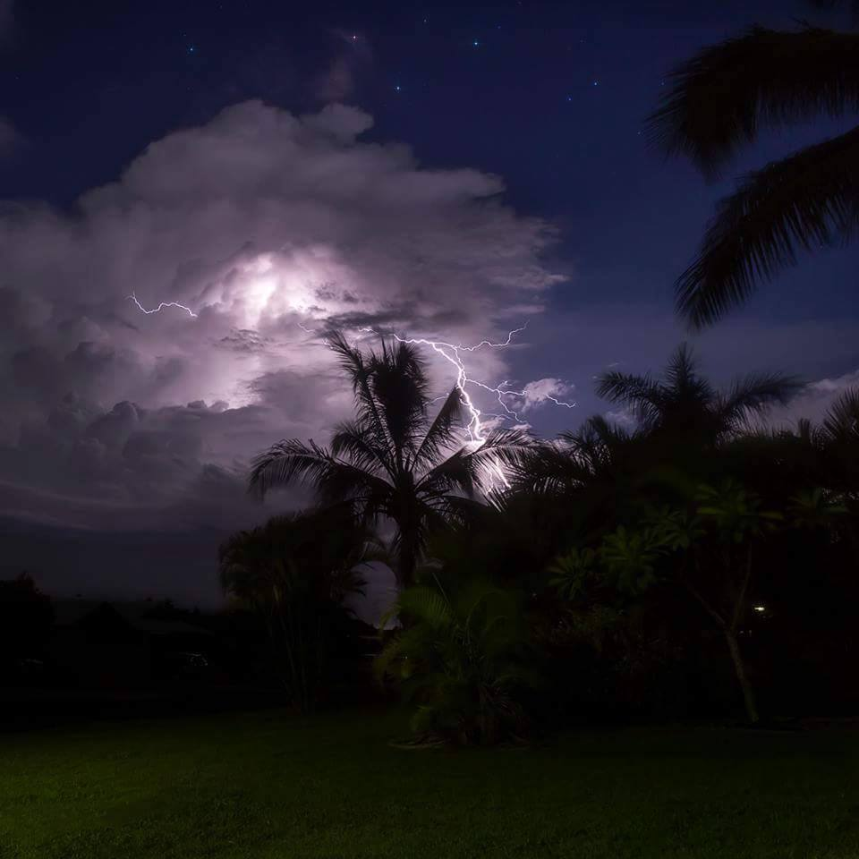 Sitting in the neighbours front yard is fun!  Tropical storm Queensland style - Stars and lightning. That was a good night!