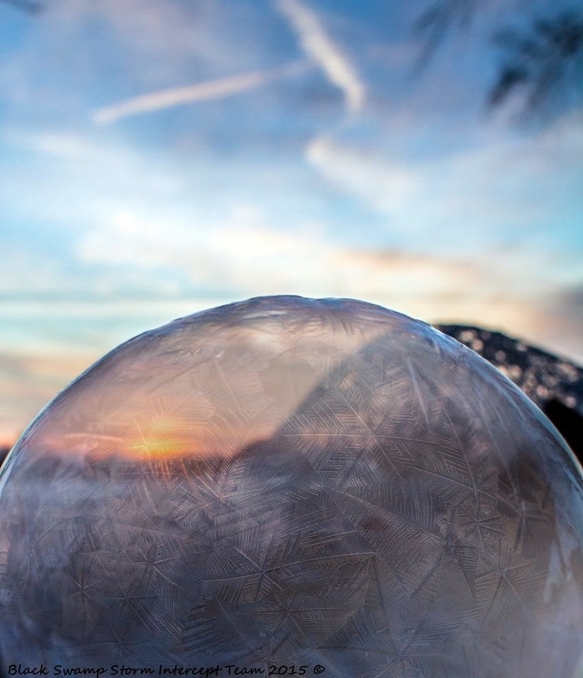 Sometimes things freeze just right. Frozen bubble highlighted by a beautiful sunset in bitter cold NW Ohio 2/16/15.