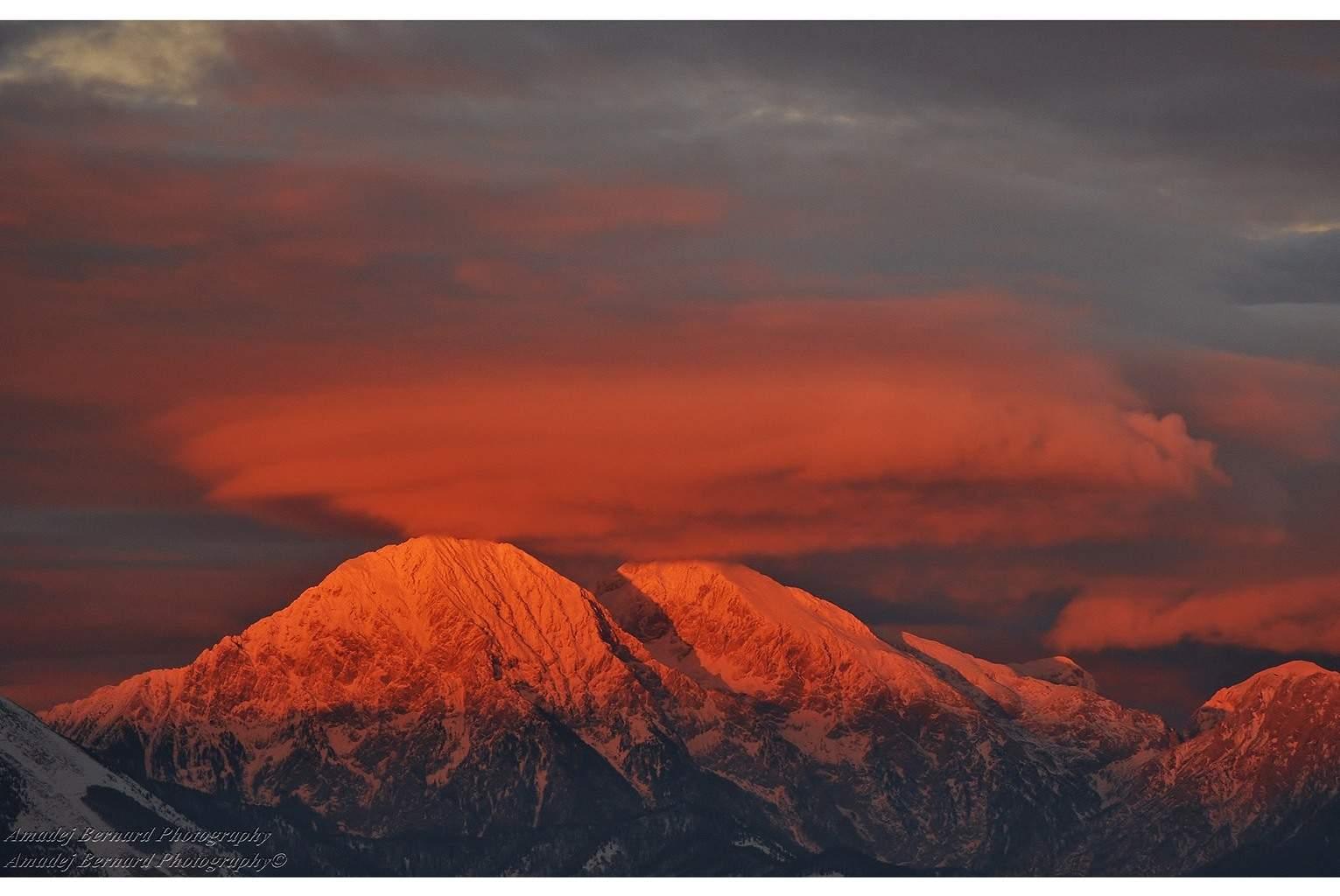 Yesterday's sunset, from Golica, Slovenia