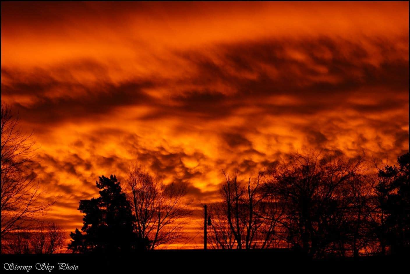A very angry and fiery sunrise.