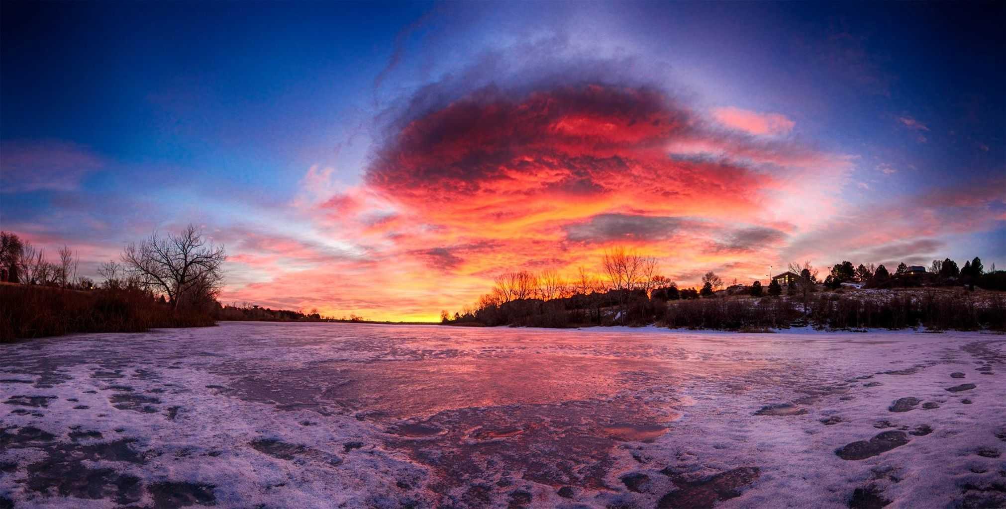 Frozen sunrise. Colorado Springs, CO.