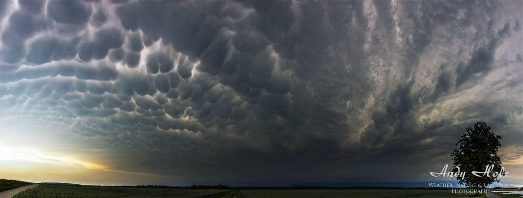 """Before the storm"", Panorama of 10 vertical images, Linnich/Germany at Pentecost 2014 (Jun 9th 2014)"