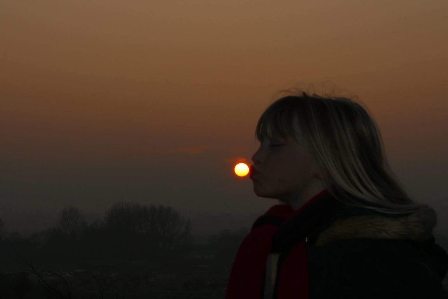 My daughter kissed the sun good bye tonight. 15th of januari 2015 Zoetermeer Netherlands. Greets...