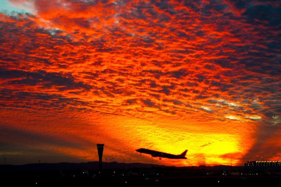 A random sunset picture from the archives...  June 19, 2013 at Brisbane Airport.. I was on the night shift and this is the sky that greeted me when I got in to work! I managed to fluke the plane taking off i the pic!