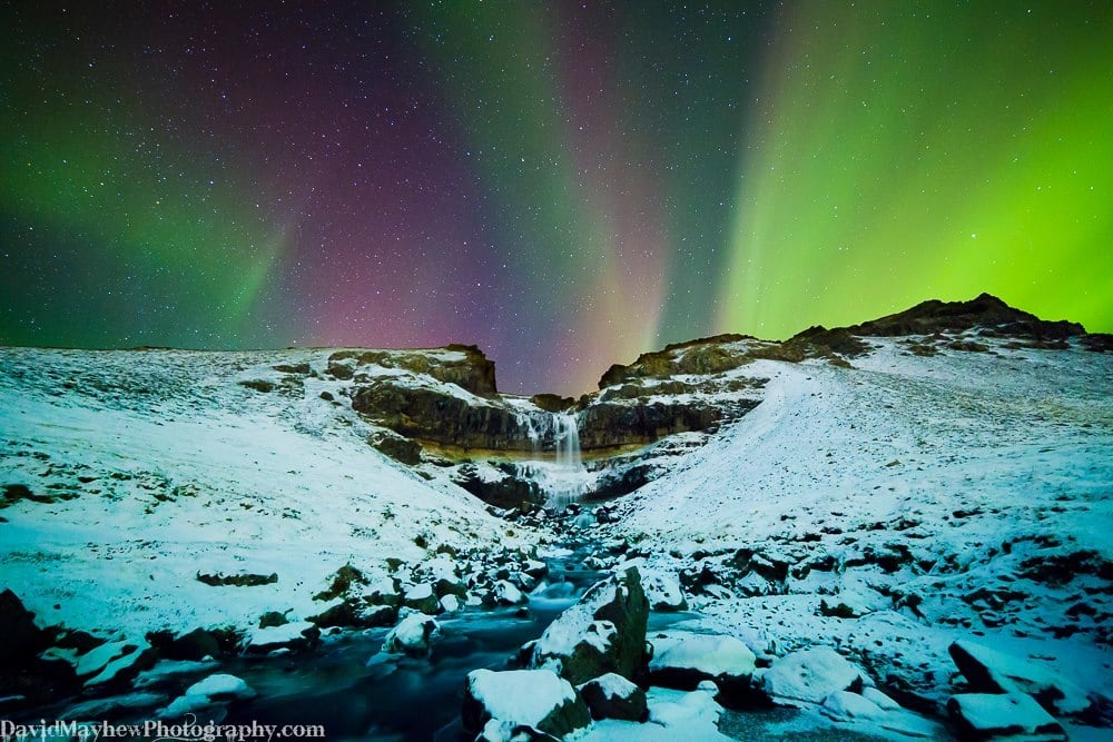 Northern lights with a mountain waterfall Tuesday morning Feb 17th 2015. KP index reached 4 and in Iceland you only need KP 1.67!