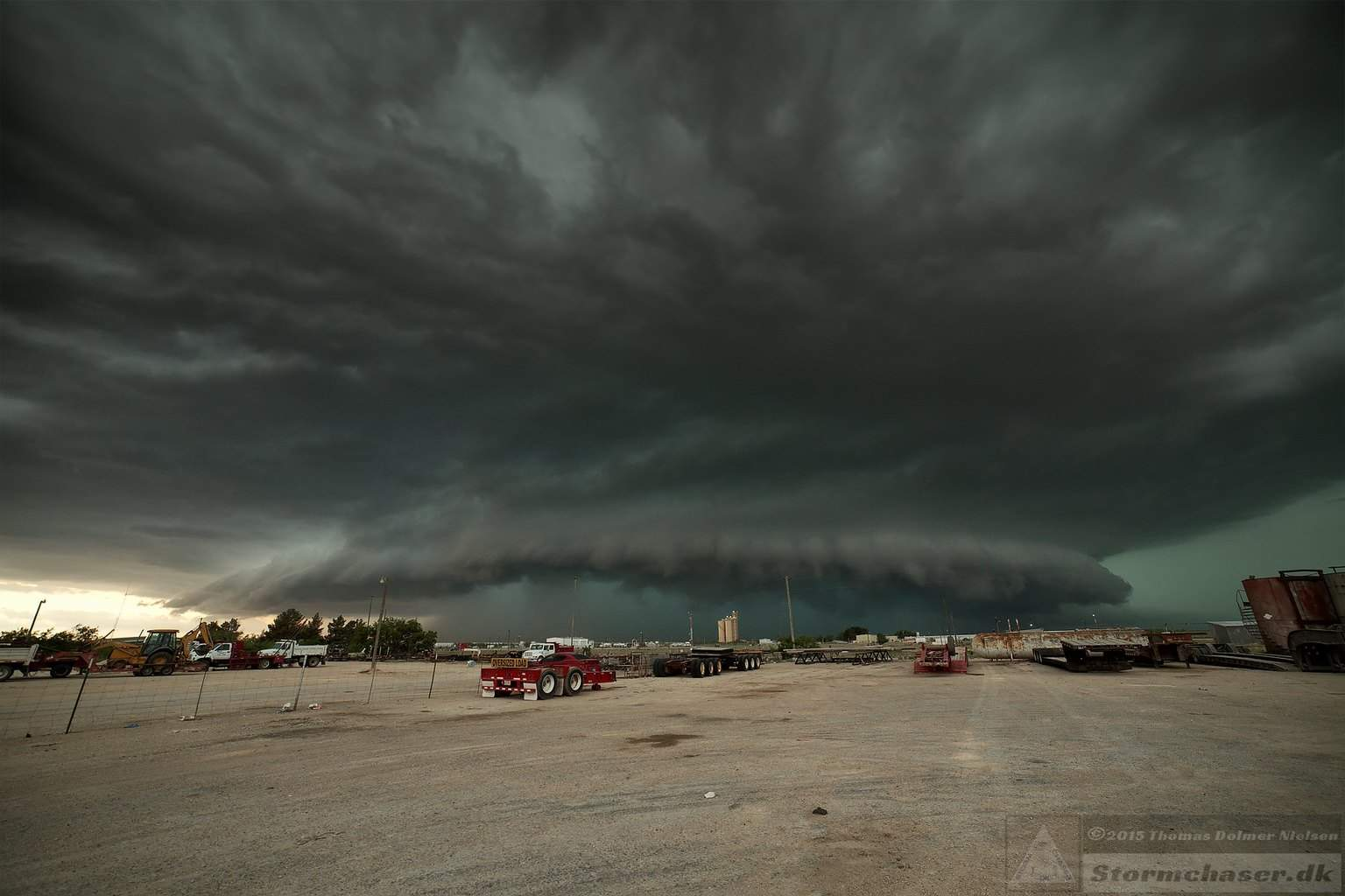 Approaching supercell. Big Lake, TX. May 24th 2014.  We took cover from hail at a gas station, but they weren't so large after all. Serious flooding in the city afterwards, though. Sorry for the weird distortion. The Samyang 14 mm 2.8 is a fantastisk sharp lens, but the moustache distortion is a pain to get rid of.