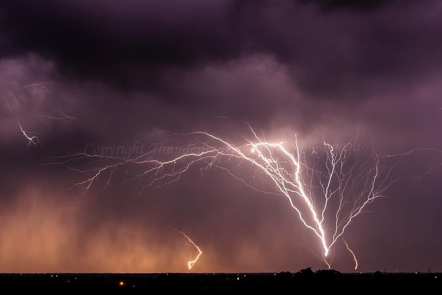 Here's another shot of incredible upwards lightning from telecom towers - this went on for over half an hour from multiple towers! - Kansas, May 26 2008.