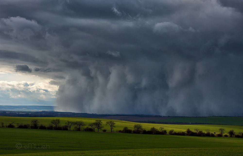"""A low topped shower of sleet """"like a haboob"""" hits central thuringia/germany on February 05, 2012."""
