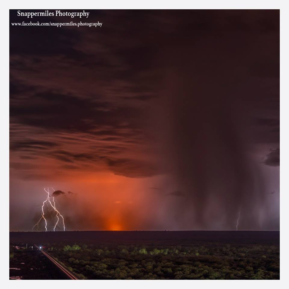This image was taken a two weeks ago in the pilbara we had a stunning light show which caused a fire to start, as the fire grew a small rain band came across and extinguished it!