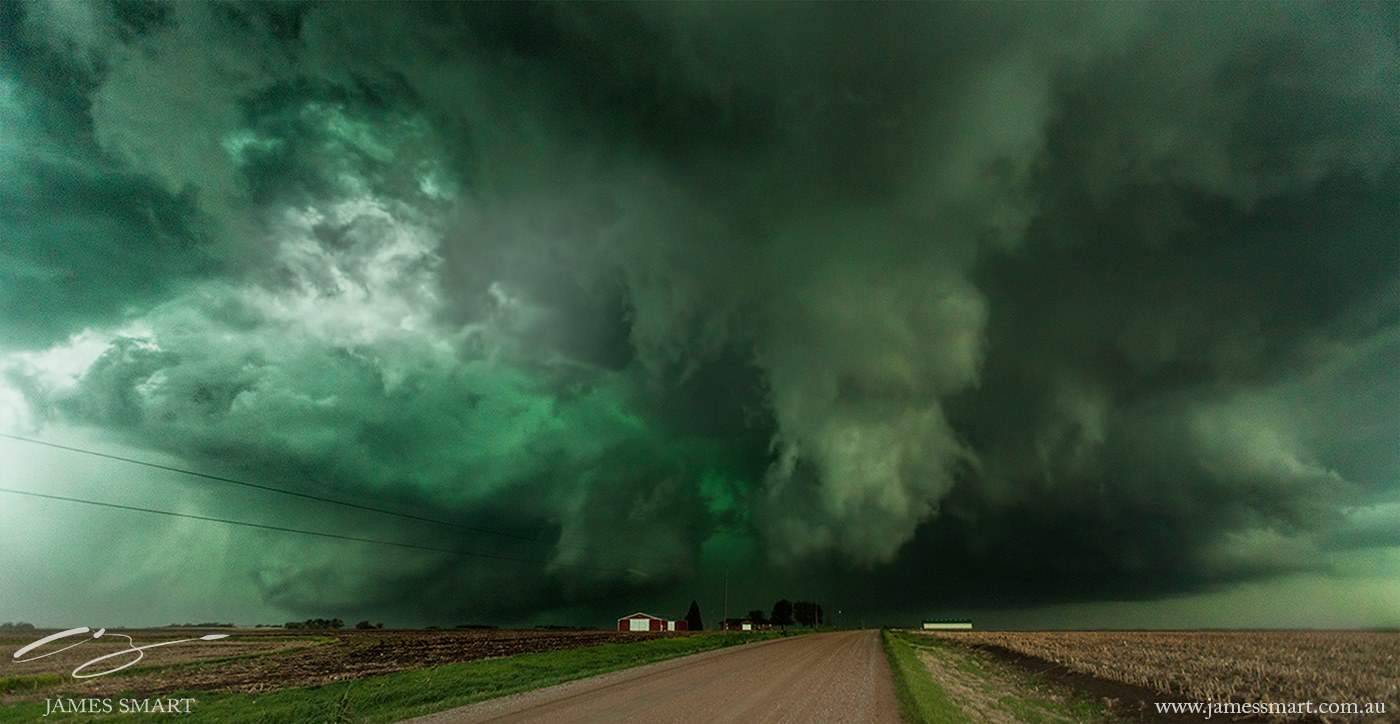 Huge supercell in Nebraska last season. Tornado on the ground to the left of the farmhouse.