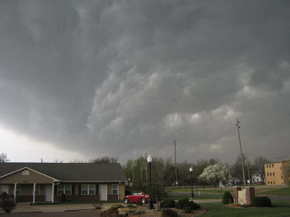 Leading edge of a severe thunderstorm, taken April 13, 2014 in Emporia, KS. I think this is the one that knocked out our power for a few hours.