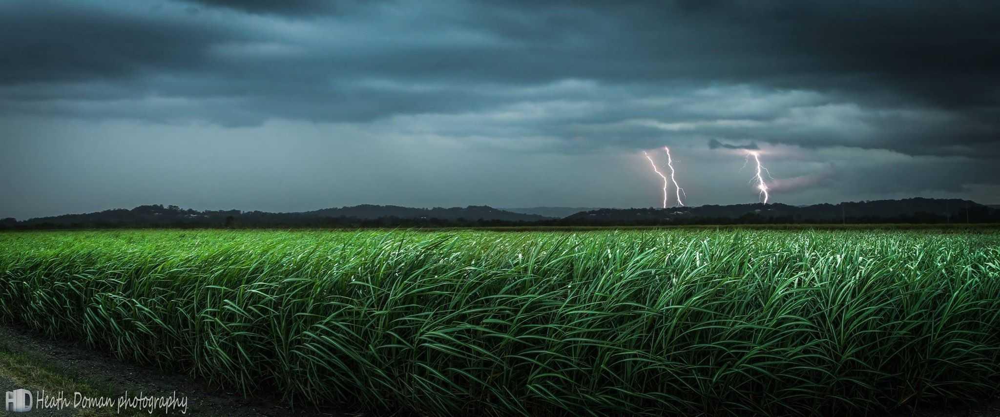 Australian summer storm over cane fields, taken December 2014