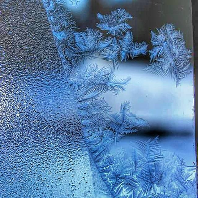 Frosty window from zero degree temperatures Saturday morning in Templeton Ma.