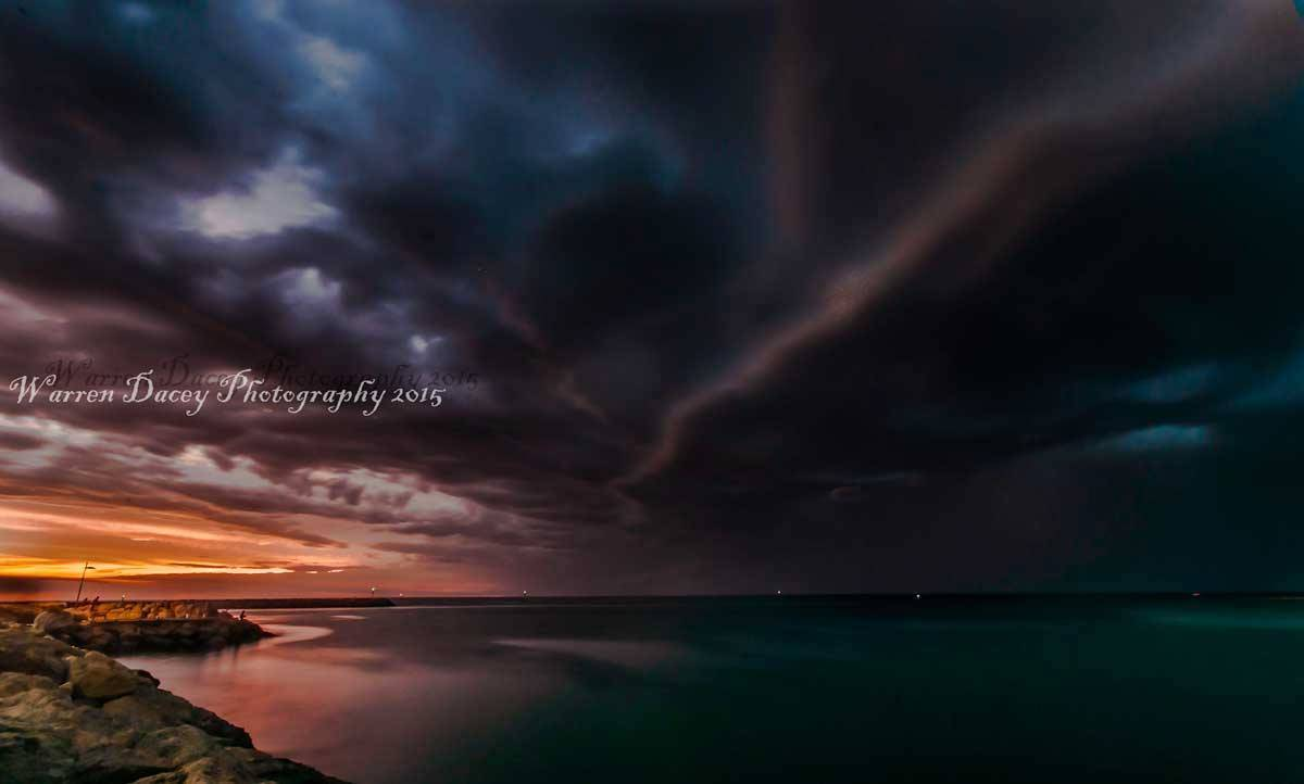 This was taken at Hillarys marina Perth at sunset just before a storm front hit