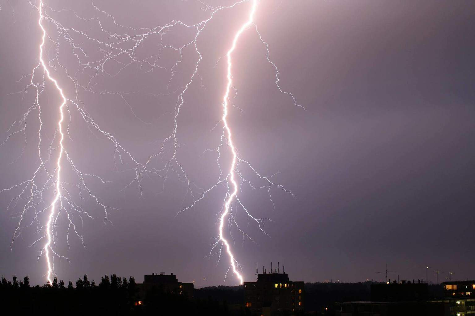 Bright twin lightning. This is the original photo so i think it was my lucky day. June 26th 2011 Zoetermeer the Netherlands.