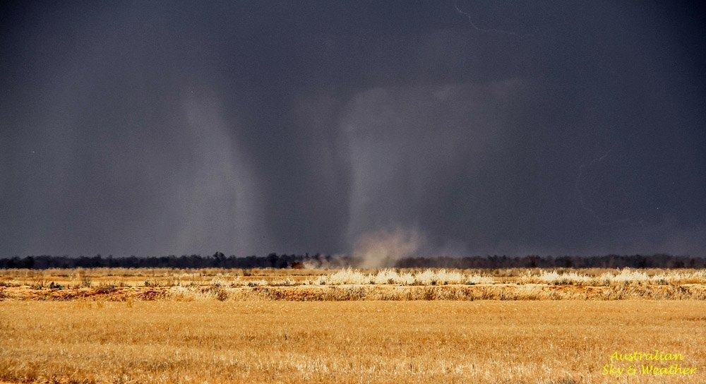"This was a curious storm, we watched a ""rain shaft"" or what we thought was a rainshaft, we think precipitation has been contained within a ground to base circulation associated with a severe stage Near Morundah, southern New South Wales, the storm persistently generated microbursts... 30th November 2014"