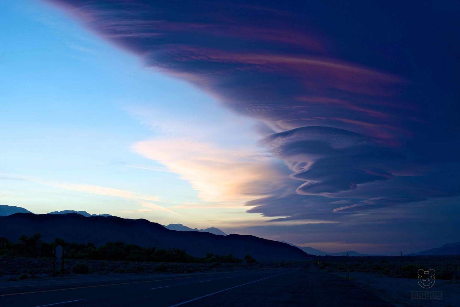 Can't remember if i posted this before, Lenticular clouds at sunset, Lone Pine, CA May, 2014