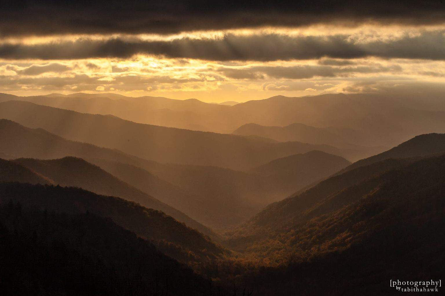 Sunrise in the Great Smoky Mountains from Clingman's Dome in Fall