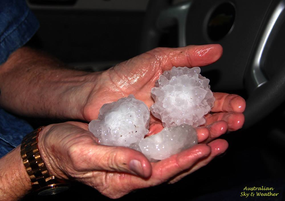 """We measured hailstones between 3 and 4"""" associated with the Sand Springs supercell. Most of the hail was jagged....first time we've ever seen tennis and orange sized hail being blown horizontally....and we even watched the wind blow large hail along the road! 25th March 2015"""