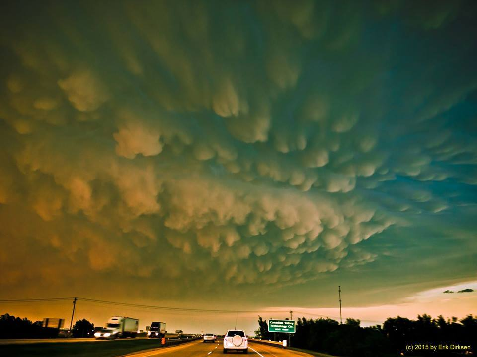 May 13th 2009, our ride into the Mammatus at sunset (the sun was to our back right). Location was just a few miles southeast of El Reno, OK.