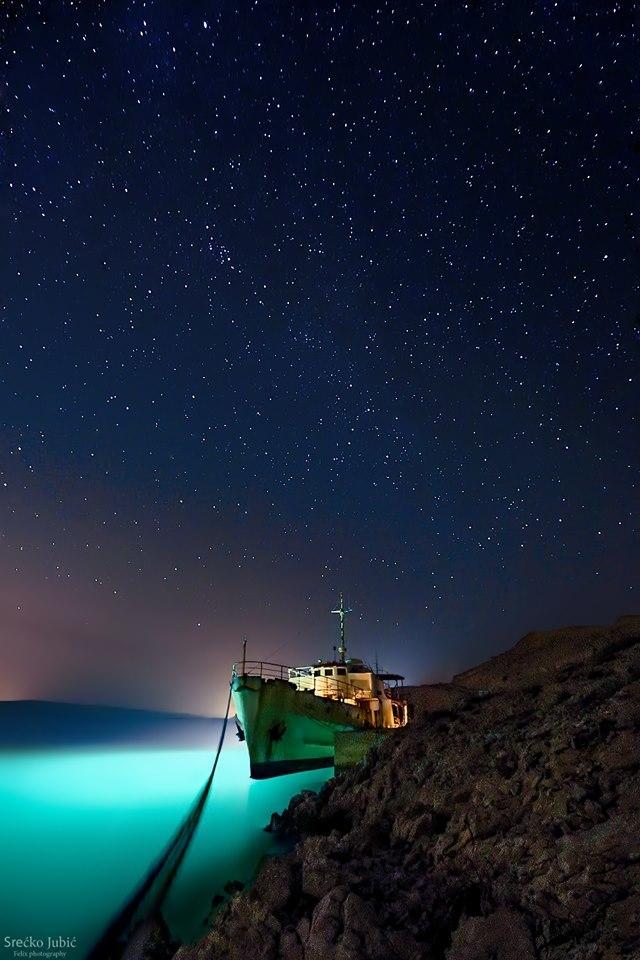 Night sky on island Pag,Croatia on March 14.03.2015.